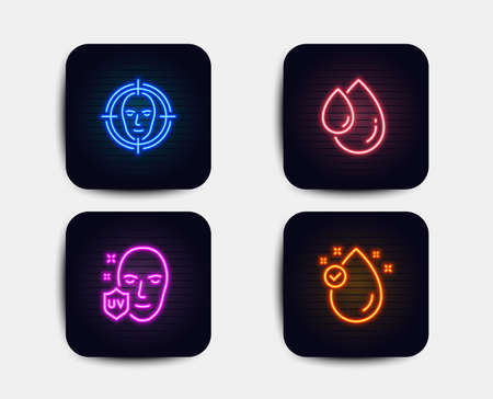 Neon glow lights. Set of Face detect, Uv protection and Oil drop icons. Vitamin e sign. Select target, Ultraviolet, Serum. Oil drop.  Neon icons. Glowing light banners. Vector Çizim