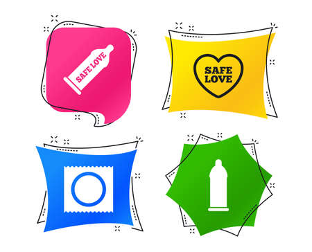 Safe sex love icons. Condom in package symbol. Fertilization or insemination. Heart sign. Geometric colorful tags. Banners with flat icons. Trendy design. Vector