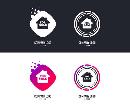 Logotype concept. For sale sign icon. Real estate selling. Logo design. Colorful buttons with icons. Vector Çizim