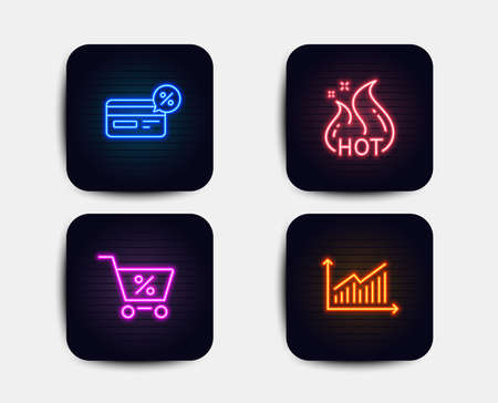 Neon glow lights. Set of Hot sale, Cashback and Special offer icons. Graph sign. Shopping flame, Non-cash payment, Discounts. Presentation diagram.  Neon icons. Glowing light banners. Vector