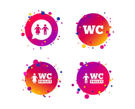 WC Toilet icons. Gents and ladies room signs. Man and woman speech bubble symbol. Gradient circle buttons with icons. Random dots design. Vector