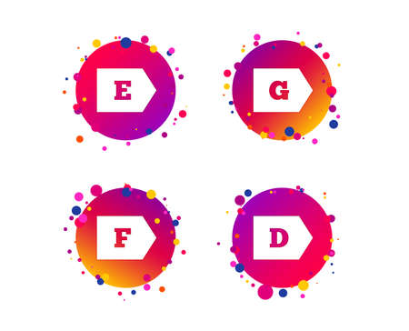 Energy efficiency class icons. Energy consumption sign symbols. Class D, E, F and G. Gradient circle buttons with icons. Random dots design. Vector