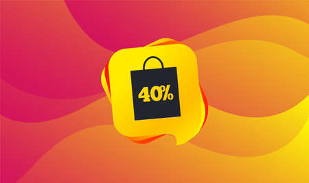 40% sale bag tag sign icon. Discount symbol. Special offer label. Wave background. Abstract shopping banner. Template for design. Vector