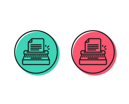 Typewriter line icon. Copywriting sign. Writer machine symbol. Positive and negative circle buttons concept. Good or bad symbols. Typewriter Vector