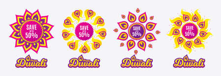 Diwali sales banners. Save up to 50%. Discount Sale offer price sign. Special offer symbol. Diwali hindu festival of lights. Shopping tags. Vector Vectores