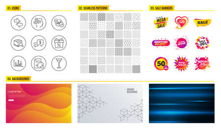 Seamless pattern. Shopping mall banners. Set of Discount offer, Synchronize and Statistics icons. Messages, Strategy and Search package signs. Pattern vector