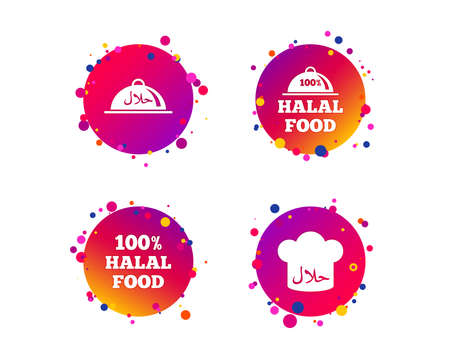 Halal food icons. 100% natural meal symbols. Chef hat sign. Natural muslims food. Gradient circle buttons with icons. Random dots design. Vector Illustration