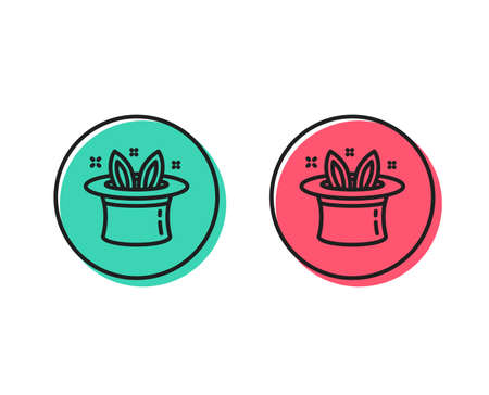 Hat-trick line icon. Magic tricks with hat and rabbit sign. Illusionist show symbol. Positive and negative circle buttons concept. Good or bad symbols. Hat-trick Vector