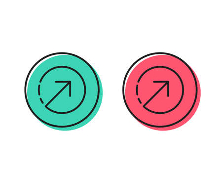 Direction arrow line icon. Arrowhead symbol. Navigation pointer sign. Positive and negative circle buttons concept. Good or bad symbols. Direction Vector Illustration