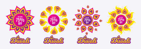 Diwali sales banners. Get Extra 75% off Sale. Discount offer price sign. Special offer symbol. Save 75 percentages. Diwali hindu festival of lights. Shopping tags. Vector