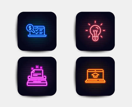 Neon glow lights. Set of Idea, Online accounting and Typewriter icons. Website education sign. Light bulb, Web audit, Instruction. Video learning.  Neon icons. Glowing light banners. Vector