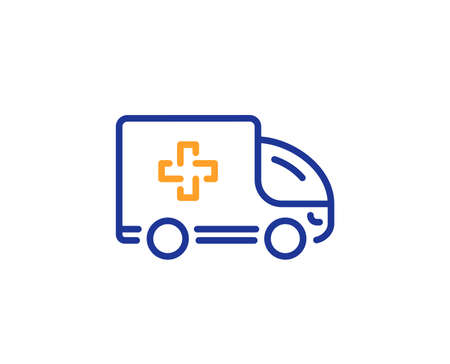Ambulance emergency car line icon. Hospital transportation vehicle sign. Medical symbol. Colorful outline concept. Blue and orange thin line color icon. Ambulance emergency Vector