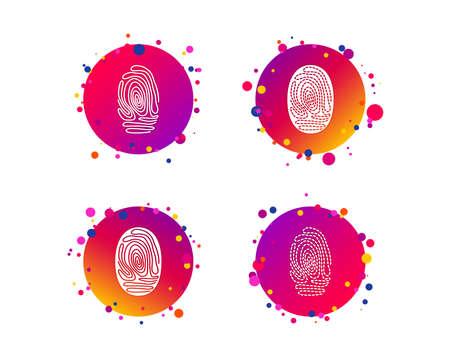 Fingerprint icons. Identification or authentication symbols. Biometric human dabs signs. Gradient circle buttons with icons. Random dots design. Fingerprint vector Illustration