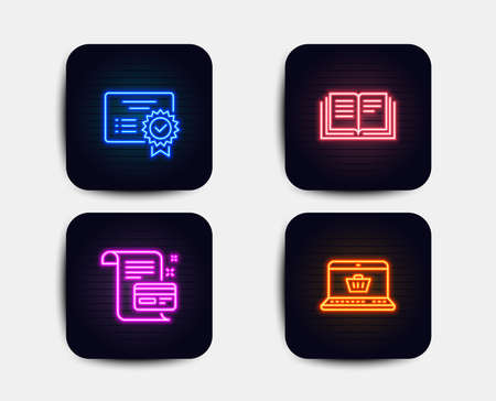 Neon glow lights. Set of Education, Certificate and Payment card icons. Online shopping sign. Instruction book, Verified document, Agreement conditions. Notebook with shopping cart.  Neon icons