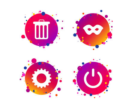 Anonymous mask and cogwheel gear icons. Recycle bin delete and power sign symbols. Gradient circle buttons with icons. Random dots design. Vector