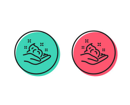 Hand cream line icon. Skin care Gel or lotion sign. Positive and negative circle buttons concept. Good or bad symbols. Skin care Vector