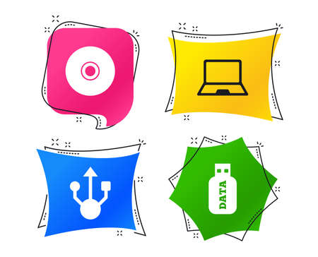 Usb flash drive icons. Notebook or Laptop pc symbols. CD or DVD sign. Compact disc. Geometric colorful tags. Banners with flat icons. Trendy design. Vector