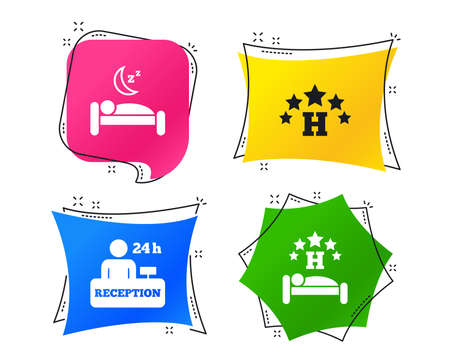 Five stars hotel icons. Travel rest place symbols. Human sleep in bed sign. Hotel 24 hours registration or reception. Geometric colorful tags. Banners with flat icons. Trendy design. Vector