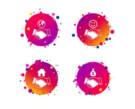 Handshake icons. World, Smile happy face and house building symbol. Dollar cash money bag. Amicable agreement. Gradient circle buttons with handshake icons. Random dots design. Vector