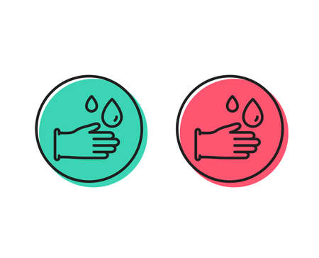 Cleaning rubber gloves line icon. Hygiene sign. Washing Housekeeping equipment sign. Positive and negative circle buttons concept. Good or bad symbols. Rubber gloves Vector Foto de archivo - 111104742