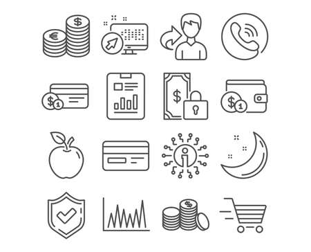 Set of Currency, Buying accessory and Payment method icons. Private payment, Credit card and Line graph signs. Banking currency money, Delivery shopping and Report document symbols. Vector Banque d'images - 111104746