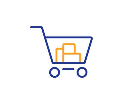 Shopping cart line icon. Online buying sign. Supermarket basket symbol. Colorful outline concept. Blue and orange thin line color icon. Internet shopping Vector