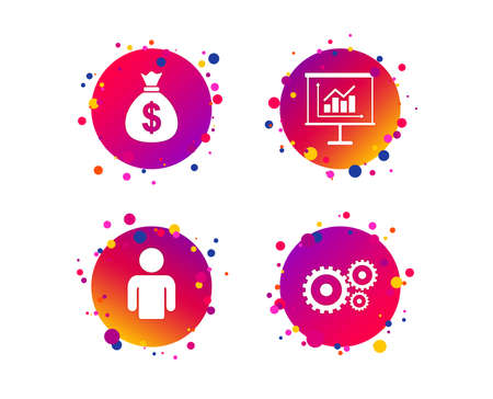 Business icons. Human silhouette and presentation board with charts signs. Dollar money bag and gear symbols. Gradient circle buttons with icons. Money dollar bag Vector Illustration