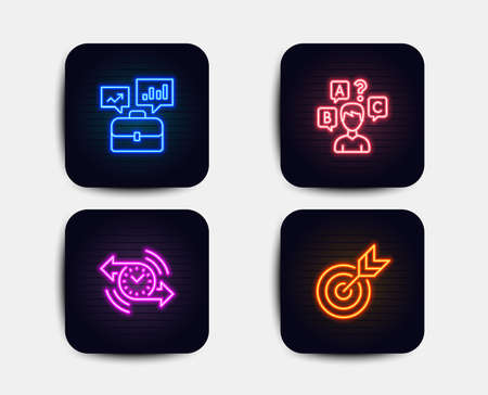 Neon glow lights. Set of Timer, Business portfolio and Quiz test icons. Target sign. Stopwatch, Job interview, Interview. Targeting.  Neon icons. Glowing light banners. Vector