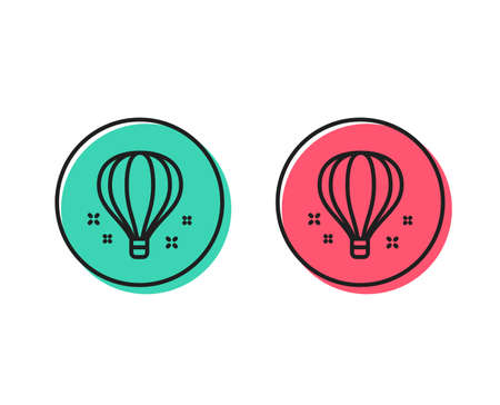 Air balloon line icon. Sky trip sign. Flight transportation symbol. Positive and negative circle buttons concept. Good or bad symbols. Air balloon Vector