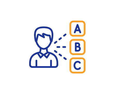 Opinion or choice line icon. Select answer sign. Business test symbol. Colorful outline concept. Blue and orange thin line color icon. Opinion Vector Stockfoto - 111104761