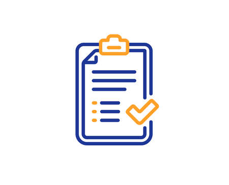 Approved checklist line icon. Accepted or confirmed sign. Report symbol. Colorful outline concept. Blue and orange thin line color icon. Approved checklist Vector Illustration