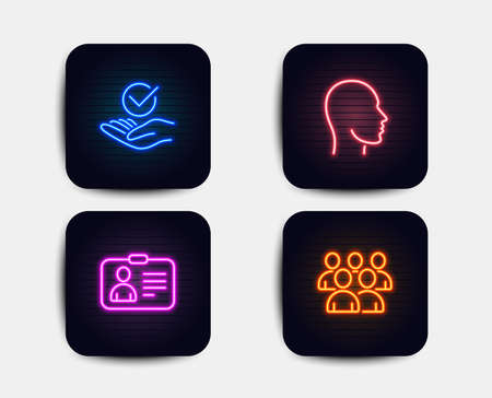Neon glow lights. Set of Id card, Head and Approved icons. Group sign. Human document, Human profile, Verified symbol. Developers. Neon icons. Glowing light banners. Approved vector