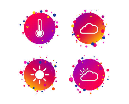 Weather icons. Cloud and sun signs. Thermometer temperature symbol. Gradient circle buttons with icons. Random dots design. Vector