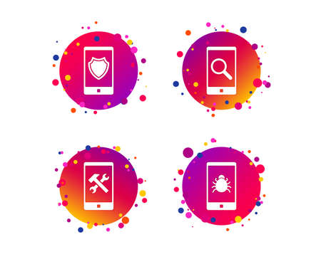Smartphone icons. Shield protection, repair, software bug signs. Search in phone. Hammer with wrench service symbol. Gradient circle buttons with icons. Random dots design. Vector