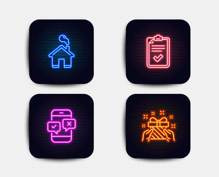 Neon glow lights. Set of Checklist, Home and Phone survey icons. Gift sign. Survey, House building, Mobile quiz test. Present.  Neon icons. Glowing light banners. Vector