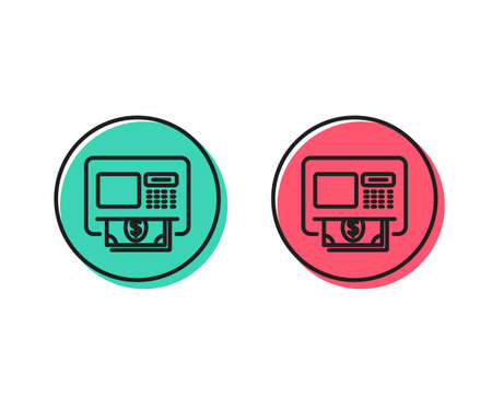 ATM line icon. Money withdraw sign. Payment machine symbol. Positive and negative circle buttons concept. Good or bad symbols. ATM Vector