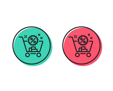 Shopping cart line icon. Sale discounts sign. Clearance symbol. Positive and negative circle buttons concept. Good or bad symbols. Shopping cart Vector