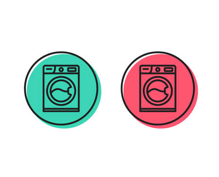 Washing machine line icon. Cleaning service symbol. Laundry sign. Positive and negative circle buttons concept. Good or bad symbols. Washing machine Vector Foto de archivo - 111104814