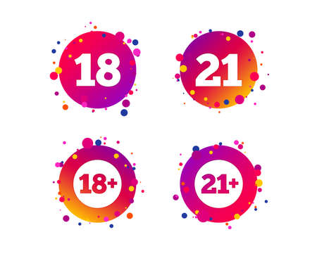 Adult content icons. Eighteen and twenty-one plus years sign symbols. Gradient circle buttons with icons. Random dots design. Vector