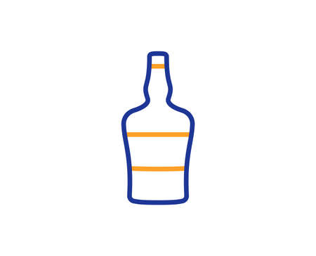 Scotch bottle line icon. Brandy alcohol sign. Colorful outline concept. Blue and orange thin line color icon. Scotch bottle Vector Reklamní fotografie - 110877446