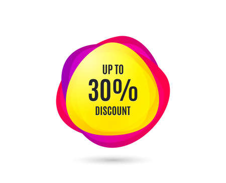 Up to 30% Discount. Sale offer price sign. Special offer symbol. Save 30 percentages. Gradient sales tag. Abstract shopping banner. Template for design. Vector Standard-Bild - 111104833