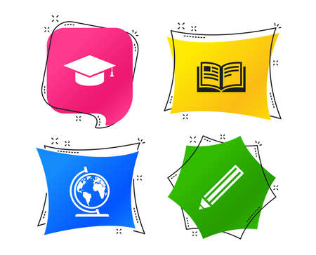 Pencil and open book icons. Graduation cap and geography globe symbols. Education learn signs. Geometric colorful tags. Banners with flat icons. Trendy design. Education vector Ilustração