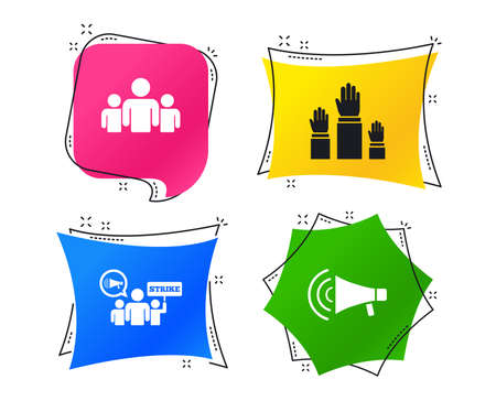 Strike group of people icon. Megaphone loudspeaker sign. Election or voting symbol. Hands raised up. Geometric colorful tags. Banners with flat icons. Trendy design. Vector Illustration