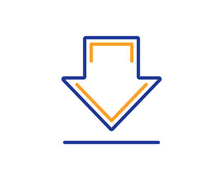 Download line icon. Internet Downloading sign. Load file symbol. Colorful outline concept. Blue and orange thin line color icon. Downloading Vector
