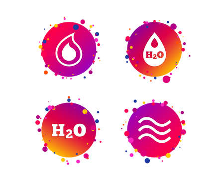 H2O Water drop icons. Tear or Oil drop symbols. Gradient circle buttons with icons. Random dots design. Water drop vector