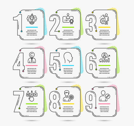 Infographic template with numbers 9 options. Set of Support, Copyrighter and Employee icons. Clown, Career ladder and Certificate signs. Head, Correct checkbox and Edit user symbols. Vector