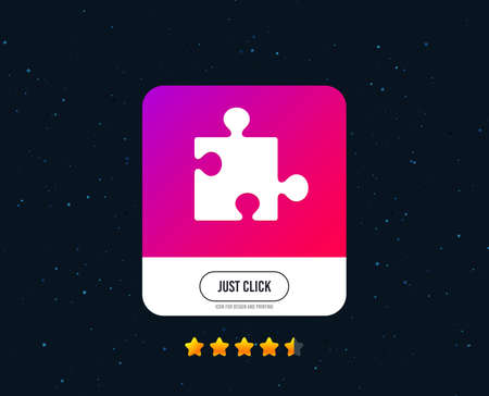 Puzzle piece sign icon. Strategy symbol. Web or internet icon design. Rating stars. Just click button. Puzzle vector