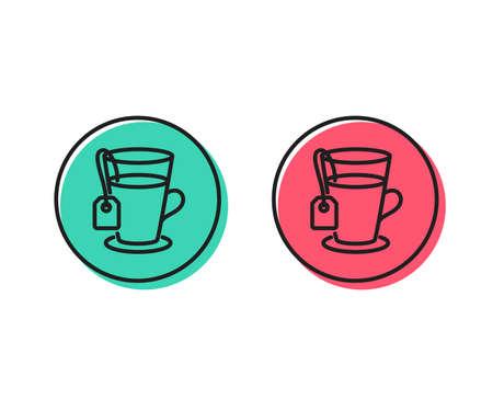 Tea with bag line icon. Hot drink sign. Fresh beverage symbol. Positive and negative circle buttons concept. Good or bad symbols. Tea Vector Ilustração