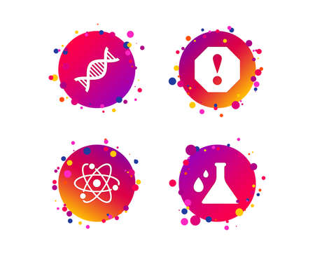 Attention and DNA icons. Chemistry flask sign. Atom symbol. Gradient circle buttons with icons. Random dots design. Vector