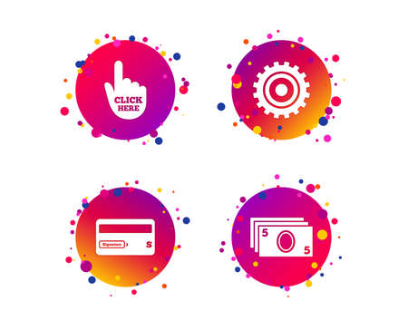 ATM cash machine withdrawal icons. Insert bank card, click here and check PIN, processing and get cash symbols. Gradient circle buttons with icons. Random dots design. Vector Illustration